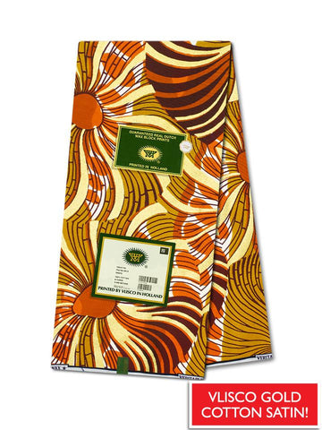 Vlisco Cotton Satin Gold Embellished VLCS441  -  NEW!