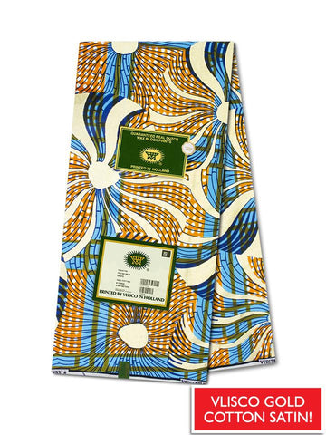 Vlisco Cotton Satin Gold Embellished VLCS444  -  NEW!