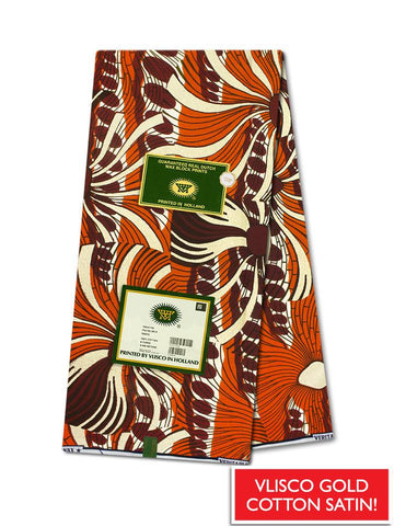 Vlisco Cotton Satin Gold Embellished VLCS445  -  NEW!