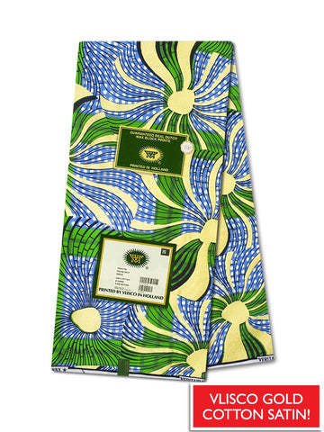 Vlisco Cotton Satin Gold Embellished VLCS446  -  NEW!