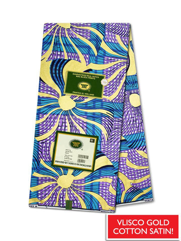 Vlisco Cotton Satin Gold Embellished VLCS447  -  NEW!