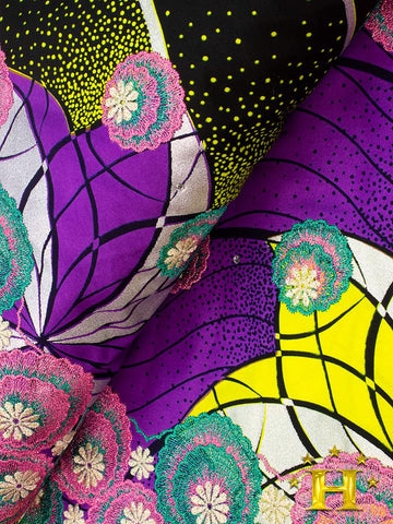 Vlisco Fabric with Lace Embroidery: VL452