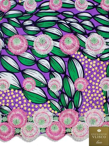 Vlisco Fabric with Lace Embroidery: VL459