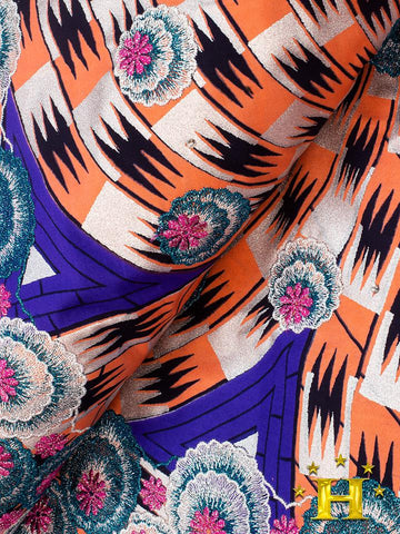 Vlisco Fabric with Lace Embroidery: VL462