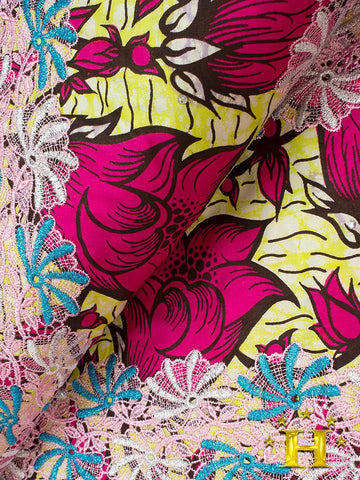 VLISCO LACE - Vlisco Super Wax with Lace Embroidery: VL348