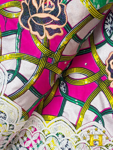 VLISCO LACE - Vlisco Super Wax with Lace Embroidery: VL349