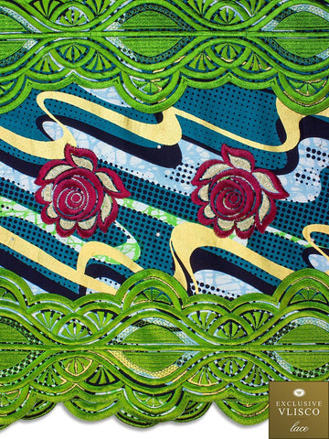 VLISCO LACE - Vlisco Super Wax with Lace Embroidery: VL371