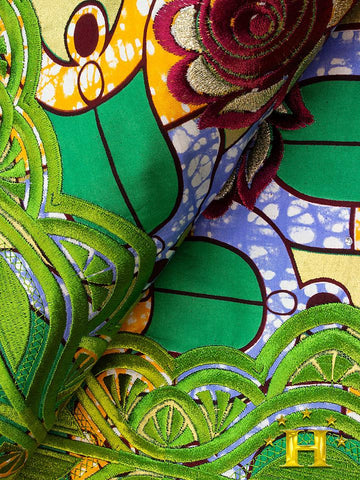 VLISCO LACE - Vlisco Super Wax with Lace Embroidery: VL383
