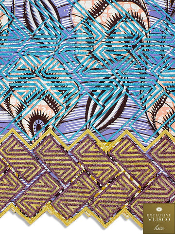 Vlisco Fabric with Lace Embroidery: VL414