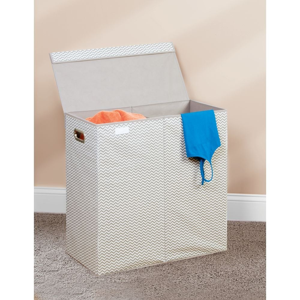 Folding Double Laundry Hamper Natural/Taupe