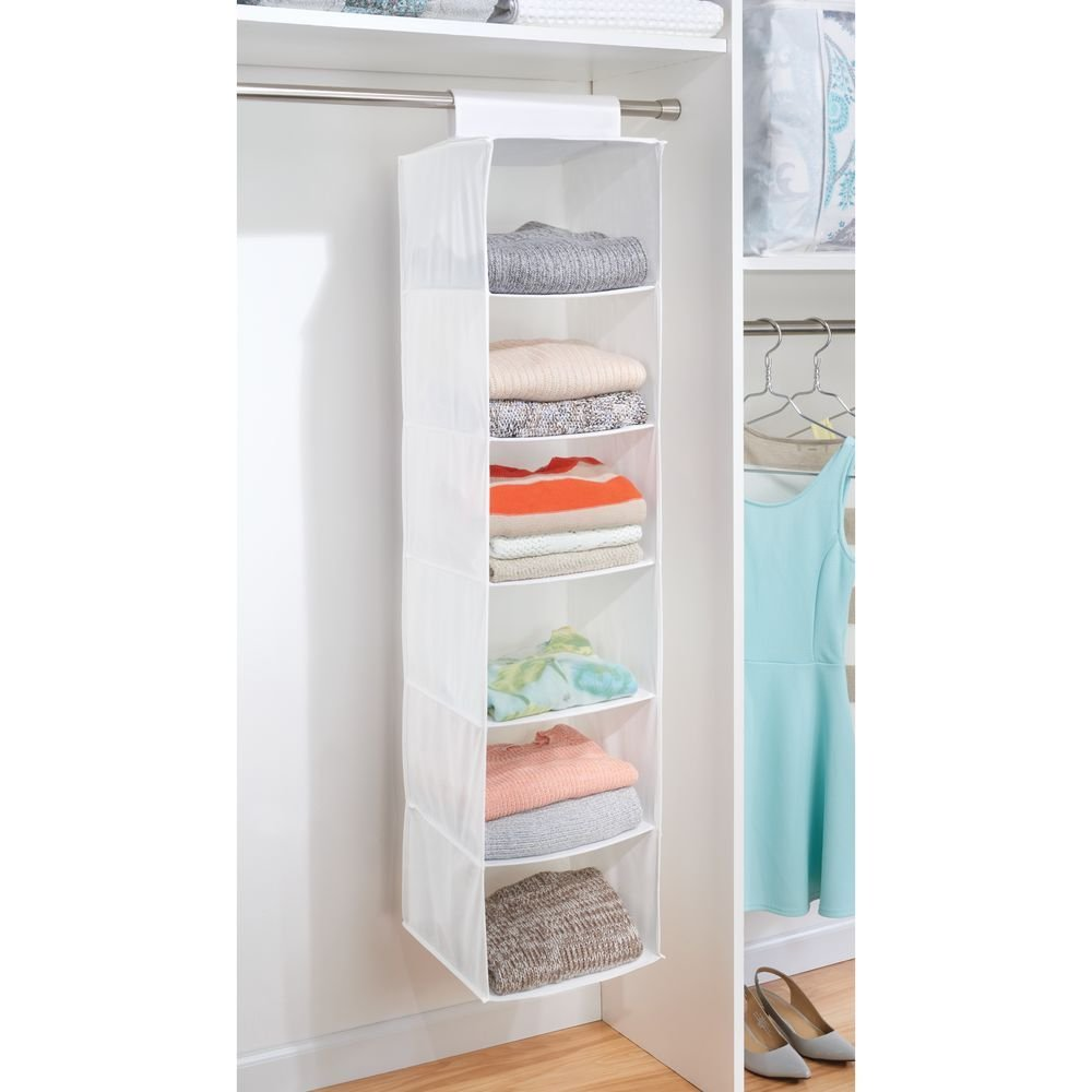 Fabric Closet Organizer 6 Sections White