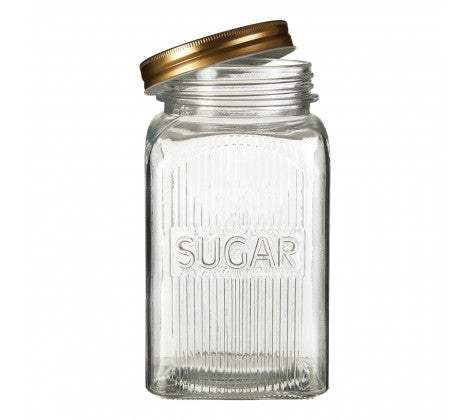 Embossed Glass Jars With Gold Finish Lids