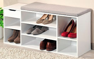 White Shoe & Seat Bench - The Organised Store