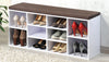 Shoe Storage Bench White Brown Cushion - The Organised Store