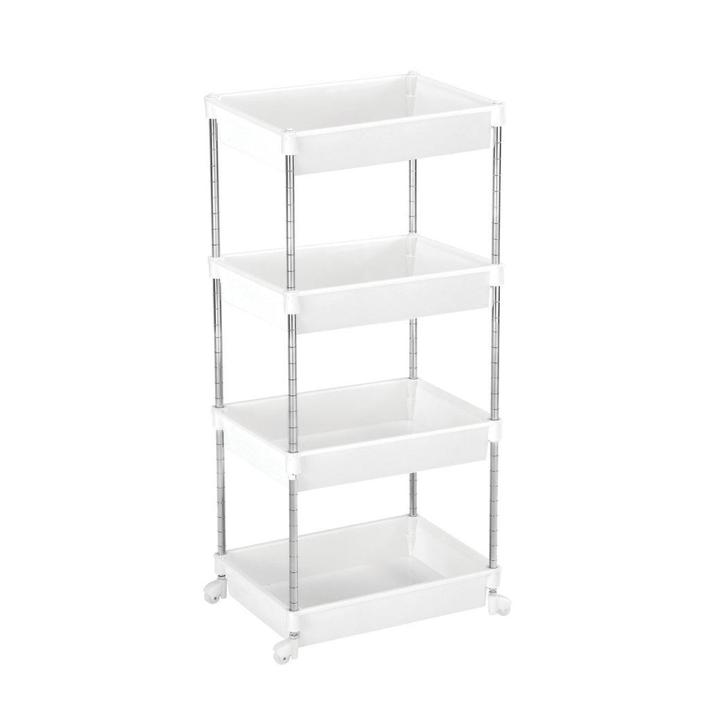 4 Tier Shelf Unit White - The Organised Store