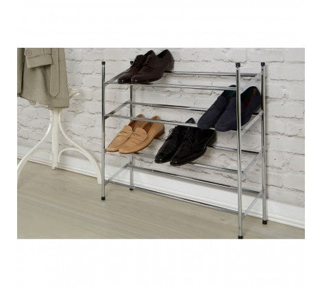 Chrome 4 Tier Extendable Shoe Rack