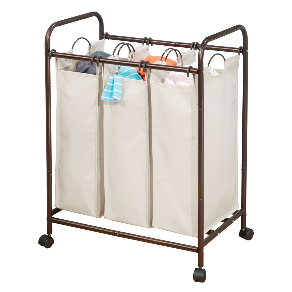3 Bag Laundry Sorter Bronze Cream - The Organised Store