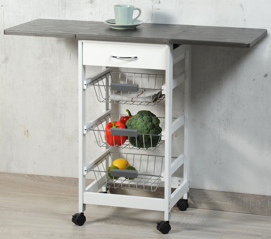 Kitchen Trolly Folding White & Grey - The Organised Store