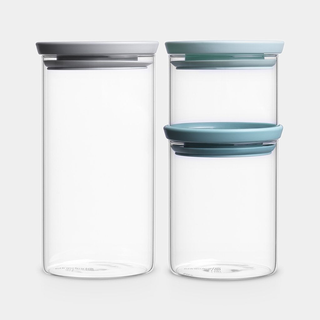 Glass Stackable Jars- Set of Three