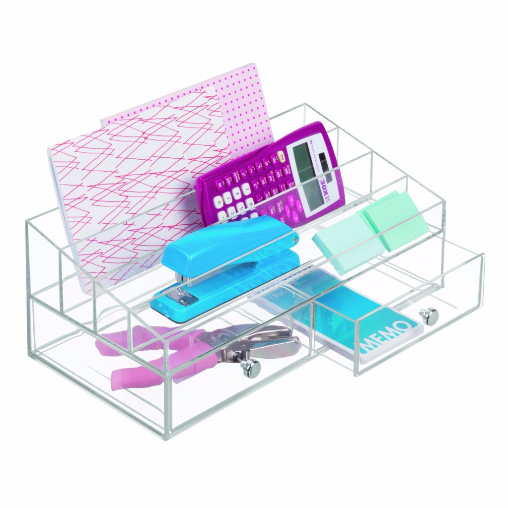 Cosmetic Organizer with 2 Drawers & 4 Departments