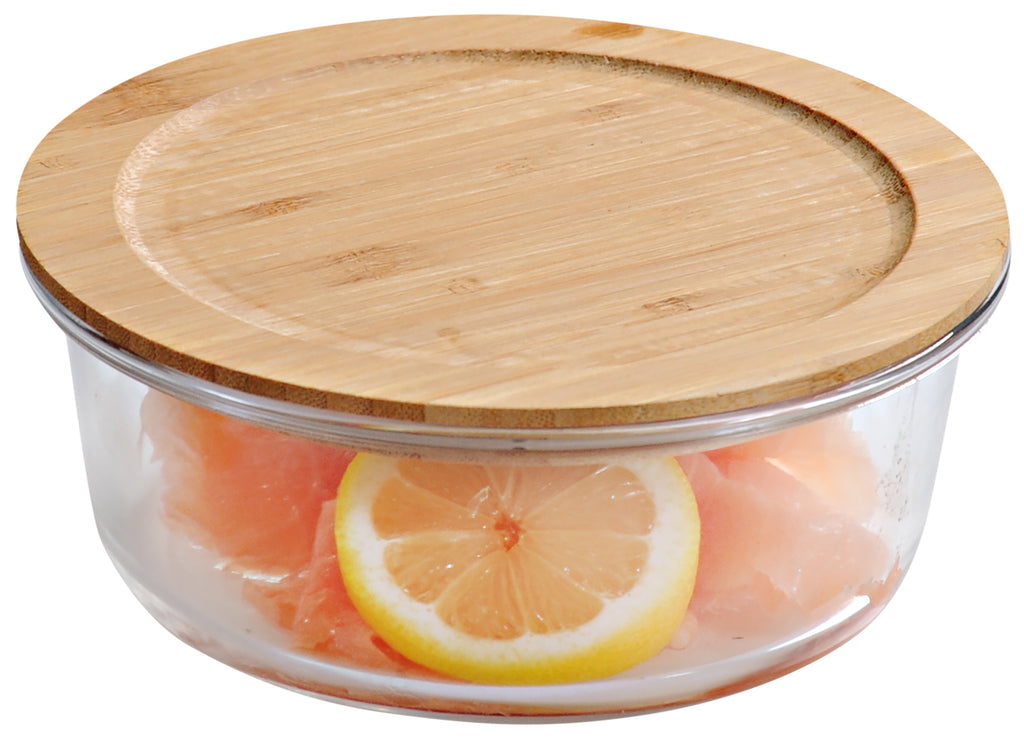 Round Glass Jar with Bamboo Lid  - Various Sizes