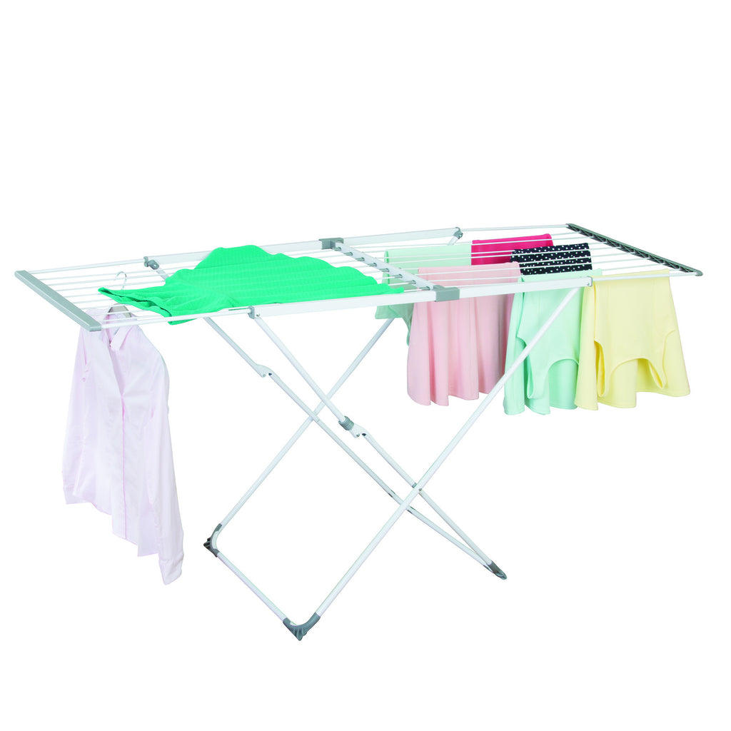 Brezio 3 Tier Laundry Drying Rack with Extendable Shelf - White/Grey