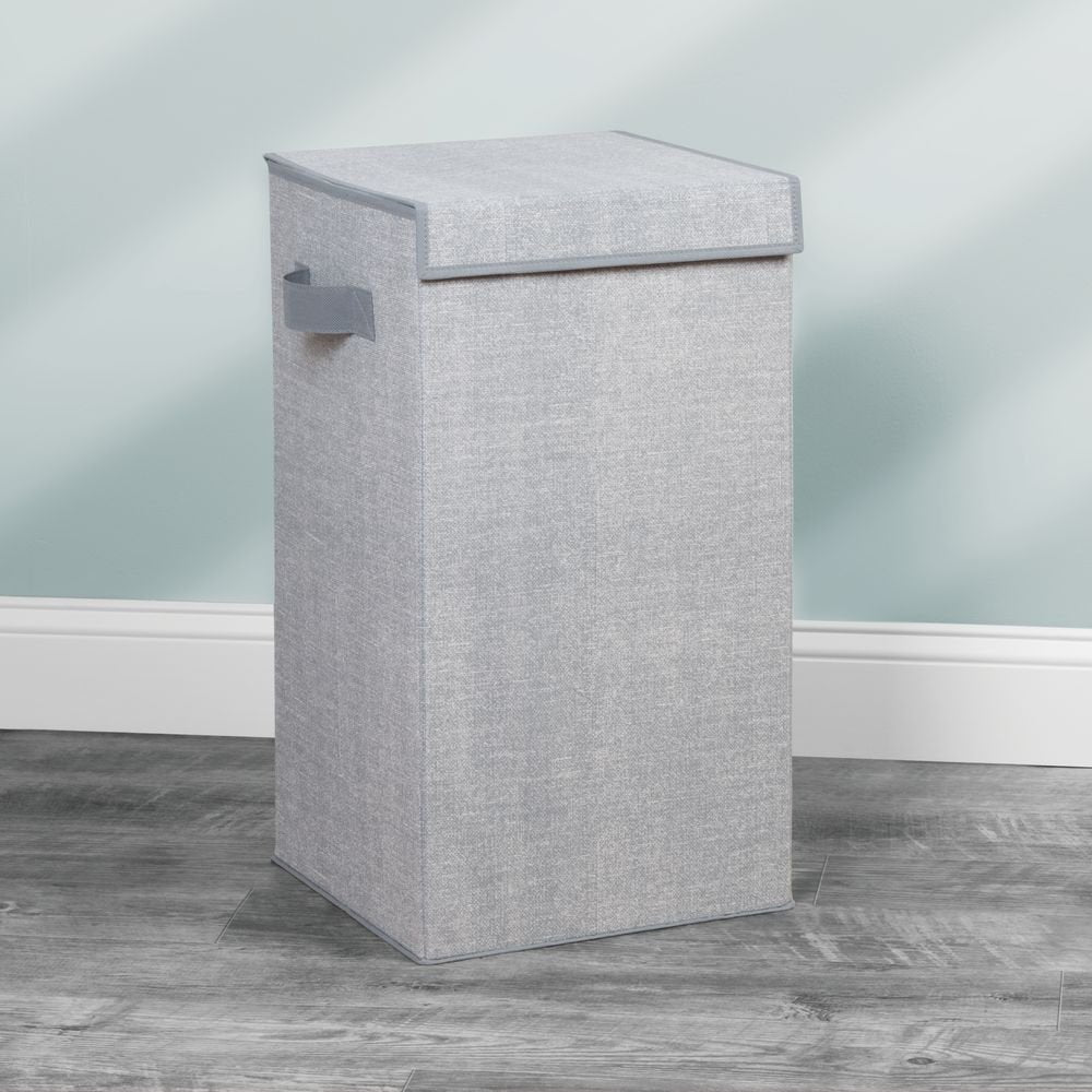 Folding Laundry Hamper with Lid Grey