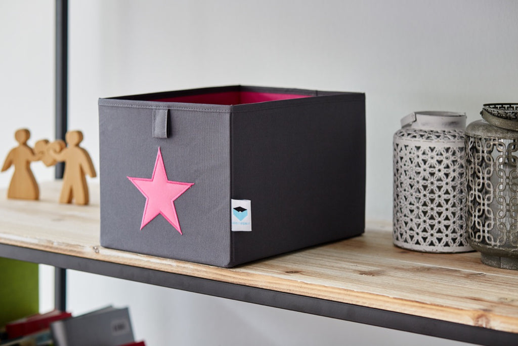 Small Store Box Grey Pink Star - The Organised Store