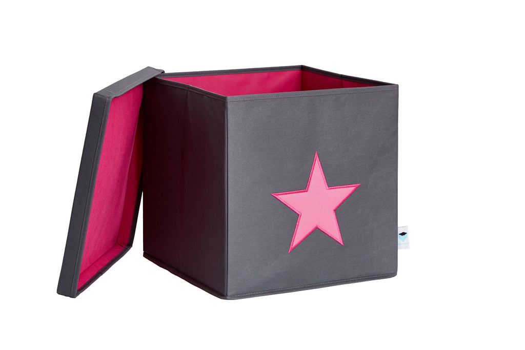 Grey Organiser Box Pink Star - The Organised Store
