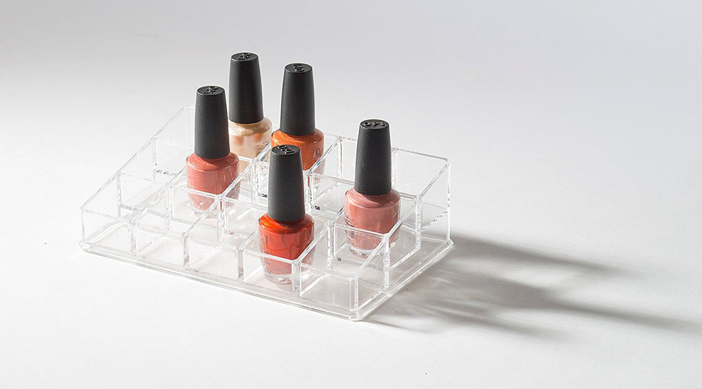 Cosmetic Organizer Nail Polish Holder With 15 Departments - The Organised Store