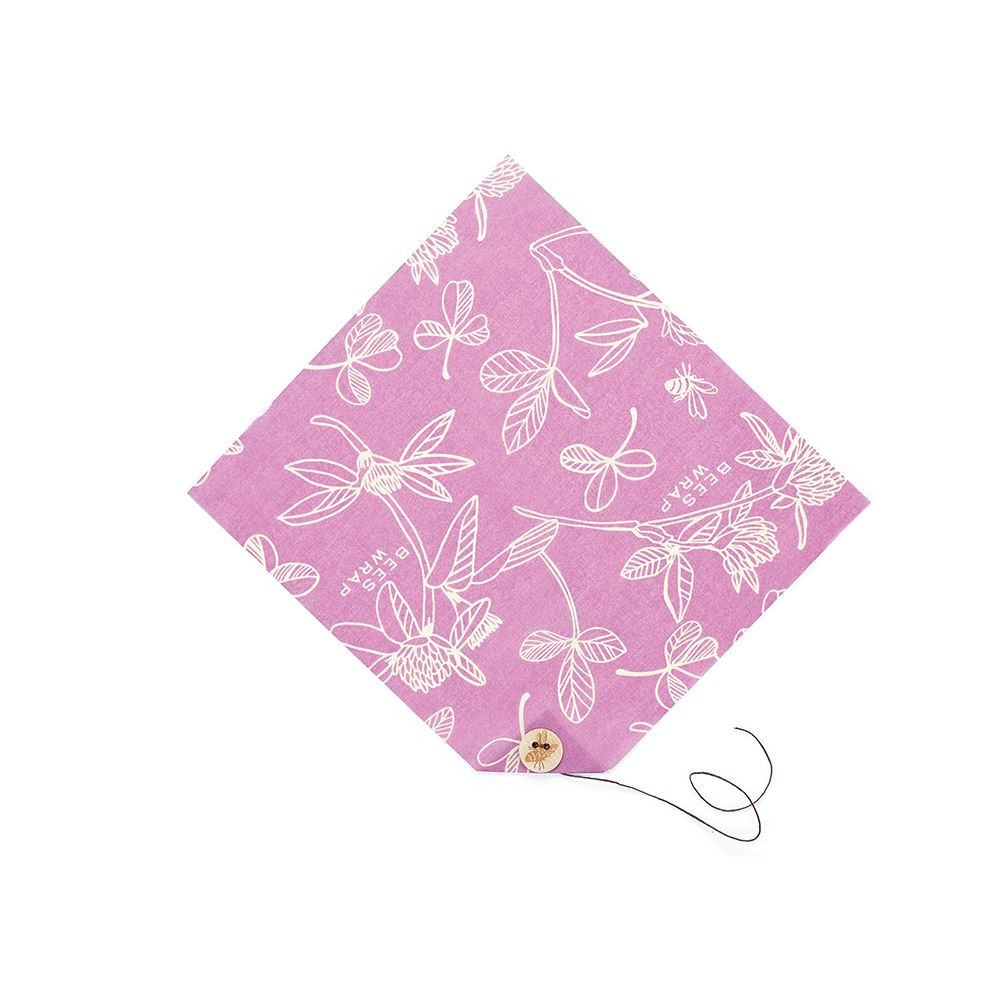 Bees Wrap Single Sandwich Wrap Clover Print - Mimi's Purple - The Organised Store