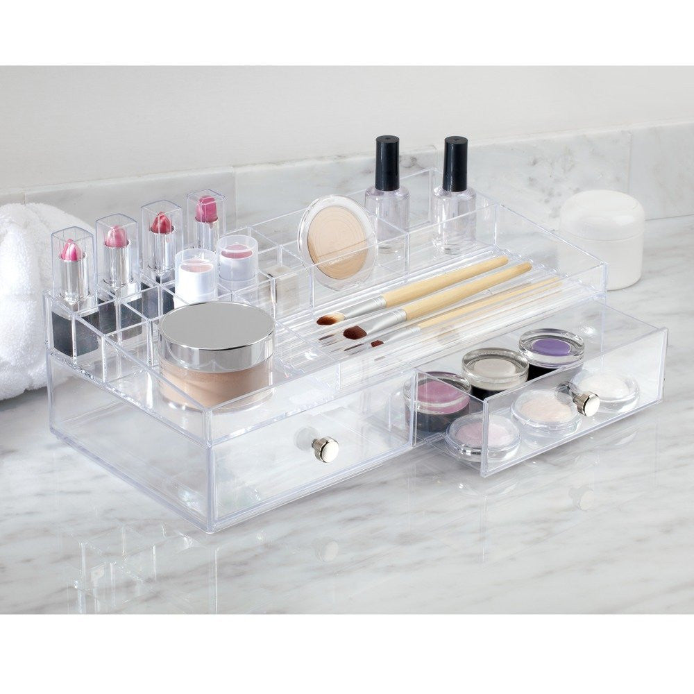 CLARITY Drawers Cosmetic Organizer 2 Drawer Clear - The Organised Store
