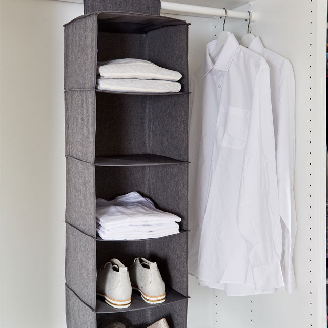 Closet Hanging Organiser- 5 shelves- Premium Quality - The Organised Store