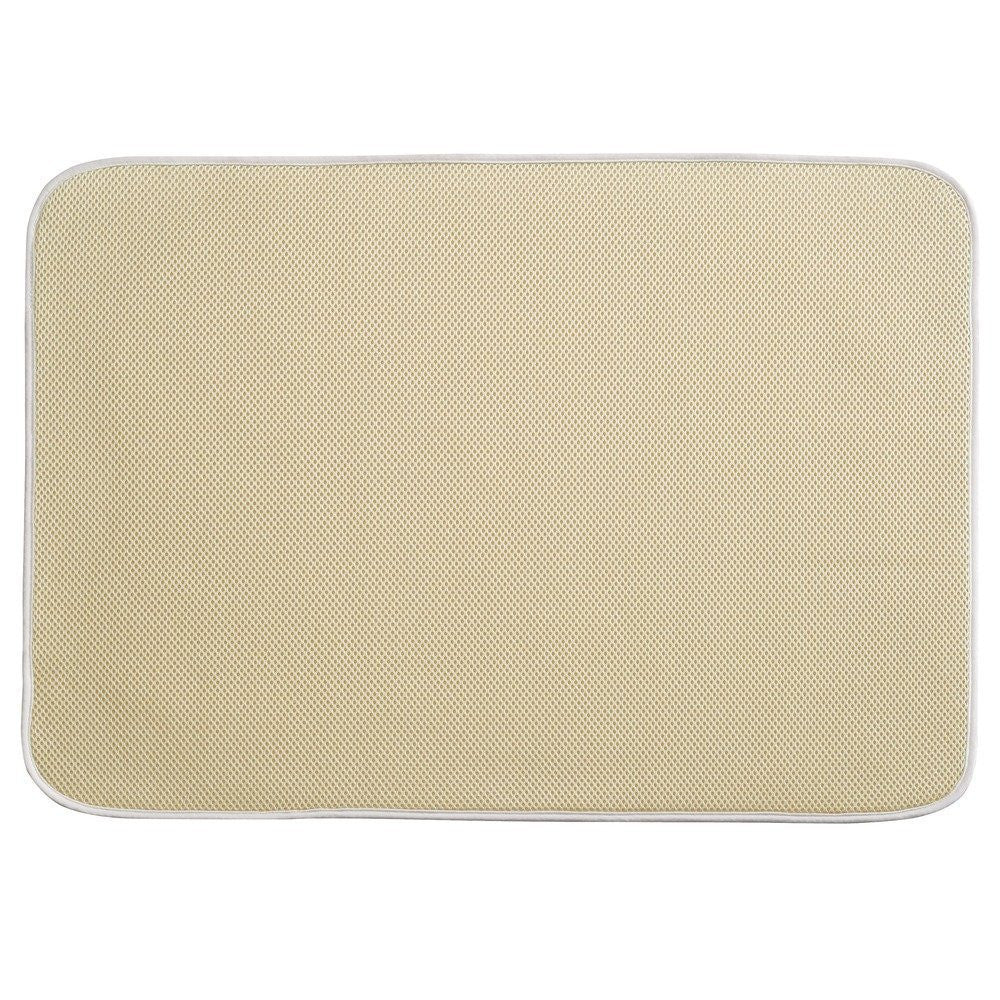 "iDRY Bath Mat Solid 18"" x 16"" - Wheat/ Grey - The Organised Store"