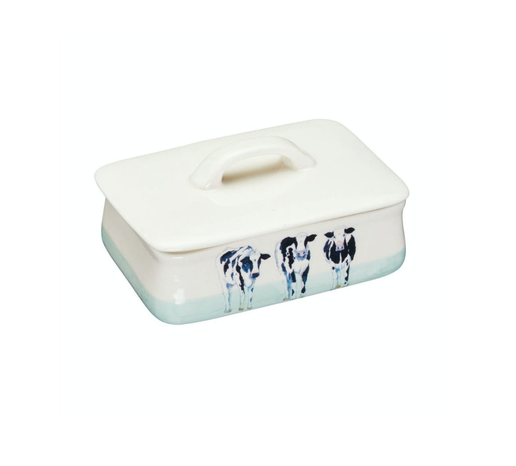 Apple Farm Stoneware 'Cows' Butter Dish