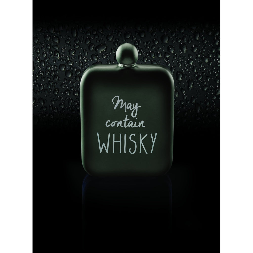 BarCraft Grey Stainless Steel 'May contain whiskey' Hip Flask