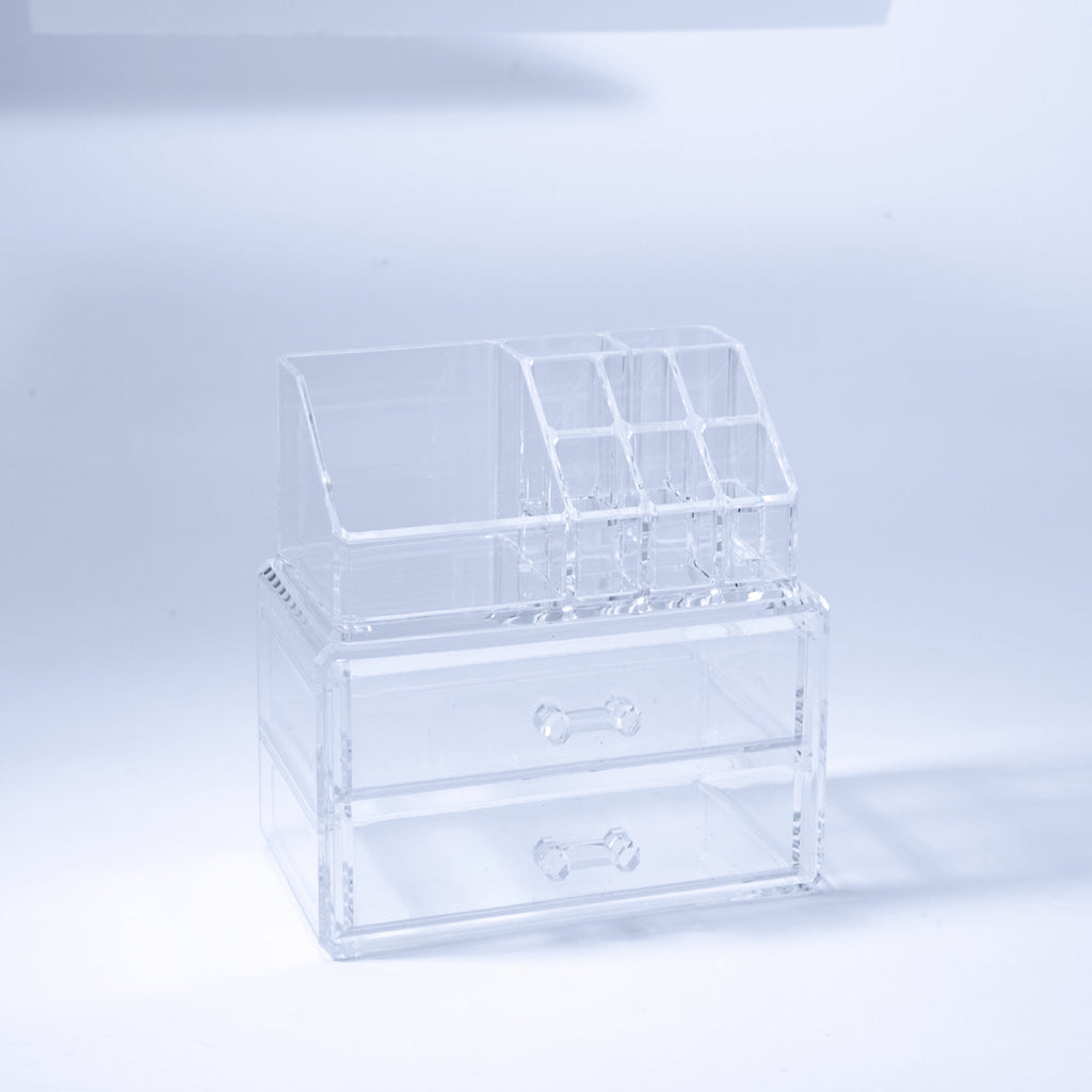 Cosmetic Organizer Box With 2 Drawers & 9 Departments - The Organised Store