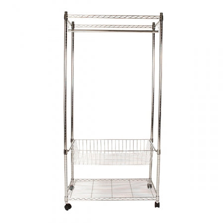 Flexible Chrome Shelving Large Wardrobe With Cover