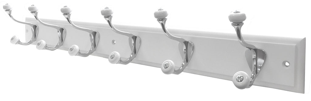 6 Porcelain Chrome Hooks on White Step - The Organised Store