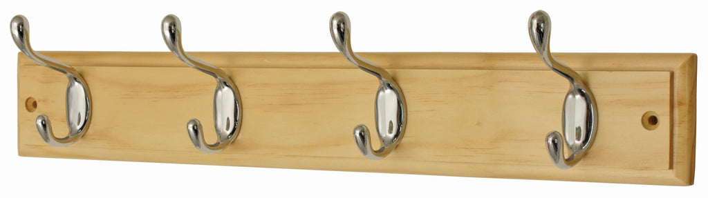 4 HD Chrome Hooks on Pine - The Organised Store