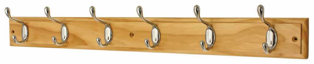 6 HD Chrome Hooks On Pine - The Organised Store