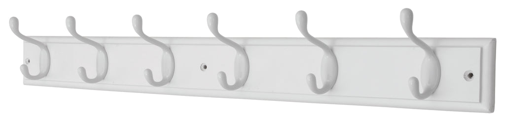 6 HD White Hooks On White Stepped - The Organised Store