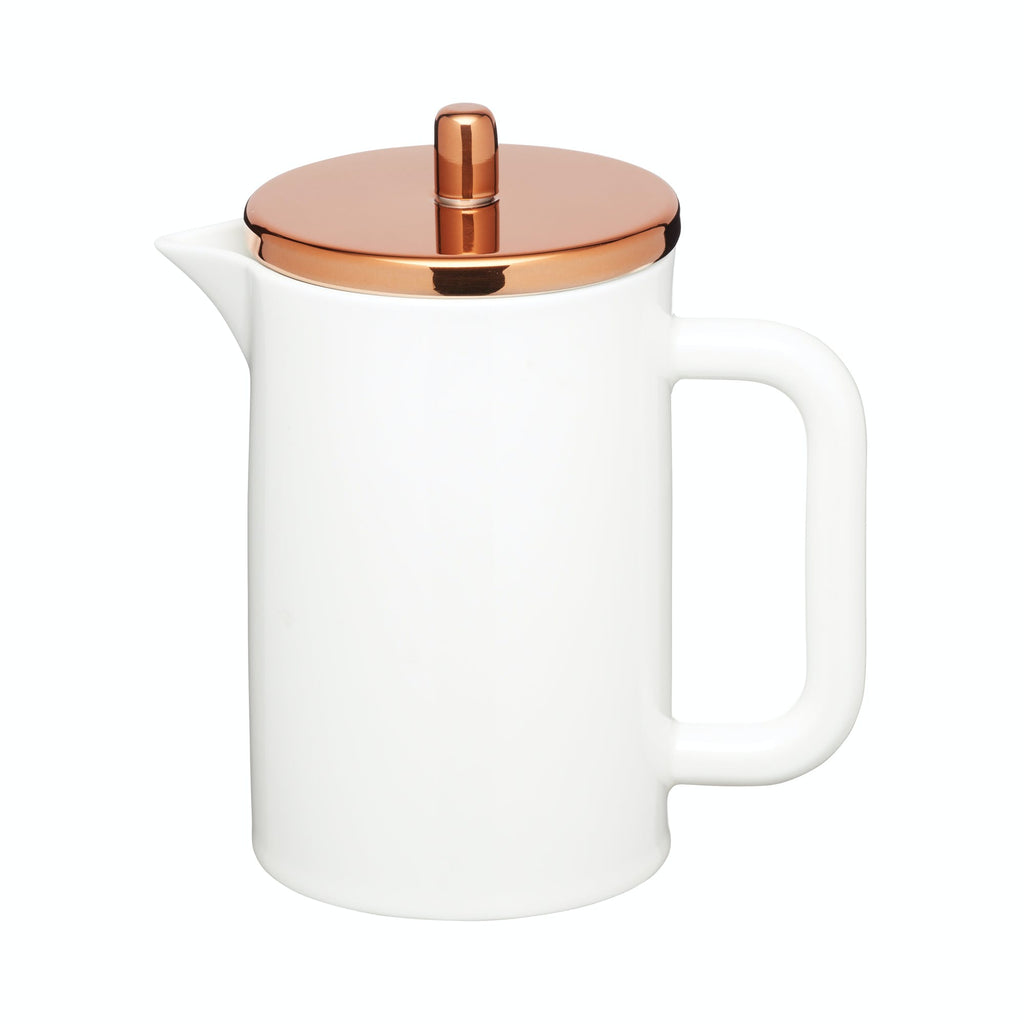Le'Xpress Bone China Porcelain 6-Cup Cafetière with Copper-Effect Lid
