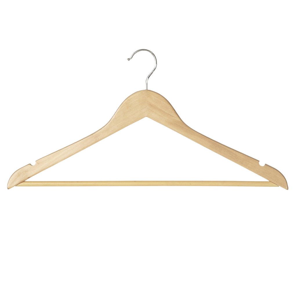 Wood Hanger with Skirt Notches & Trouser Bar - The Organised Store