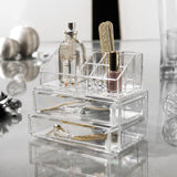 Cosmetic Organizer Box With 2 Drawers & 9 Departments