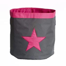 Store Basket Grey W/ Pink Star - The Organised Store
