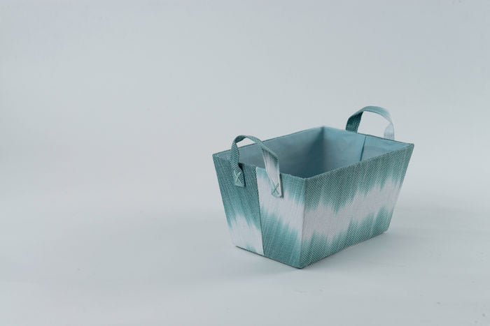 Tie Dye Green Basket with Handles - The Organised Store