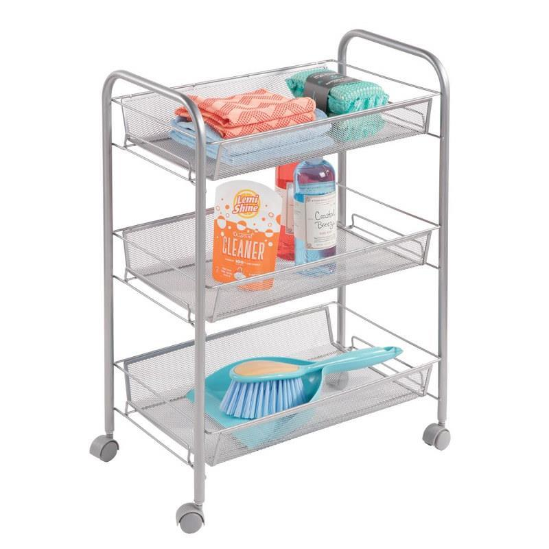 Brio 3 Tier Rolling Cart- Silver - The Organised Store