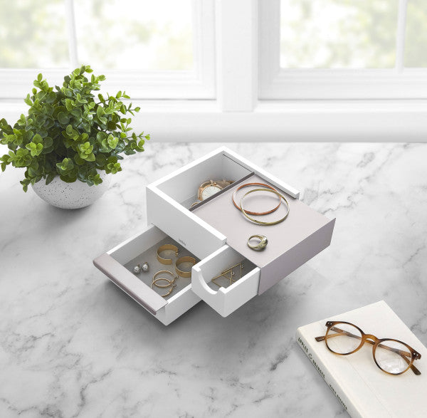 Mini Stowit Jewelry Box White Nickle - The Organised Store
