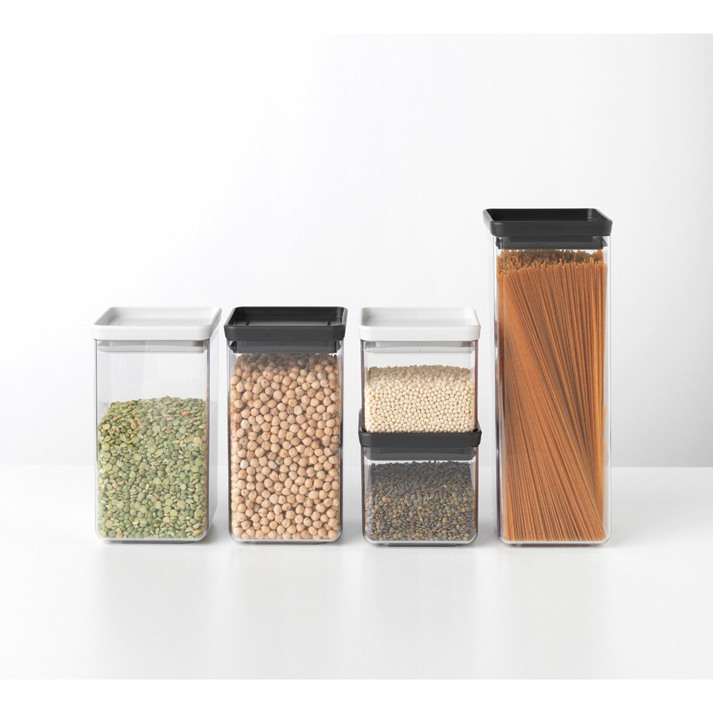 Square Stackable Canisters Mixed Size and Colour